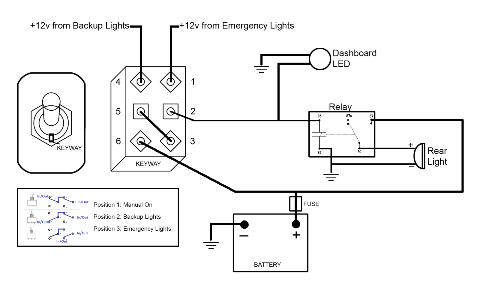 Need Help with Circuit for Tying Rear-Facing Amber Light