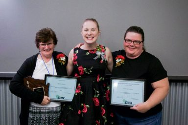 The Activity Professionals of the Year Nominees Patricia Durham (L) and Kimberly Rosenau (R) wth President Colleen Knudson (Center)
