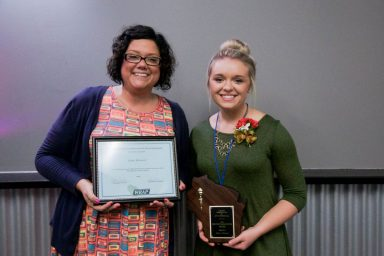 Beyond Care Giving Award Winner Kayla Rubenzer (R) of Chippewa Manor and Amber Mitra, Activity Professional