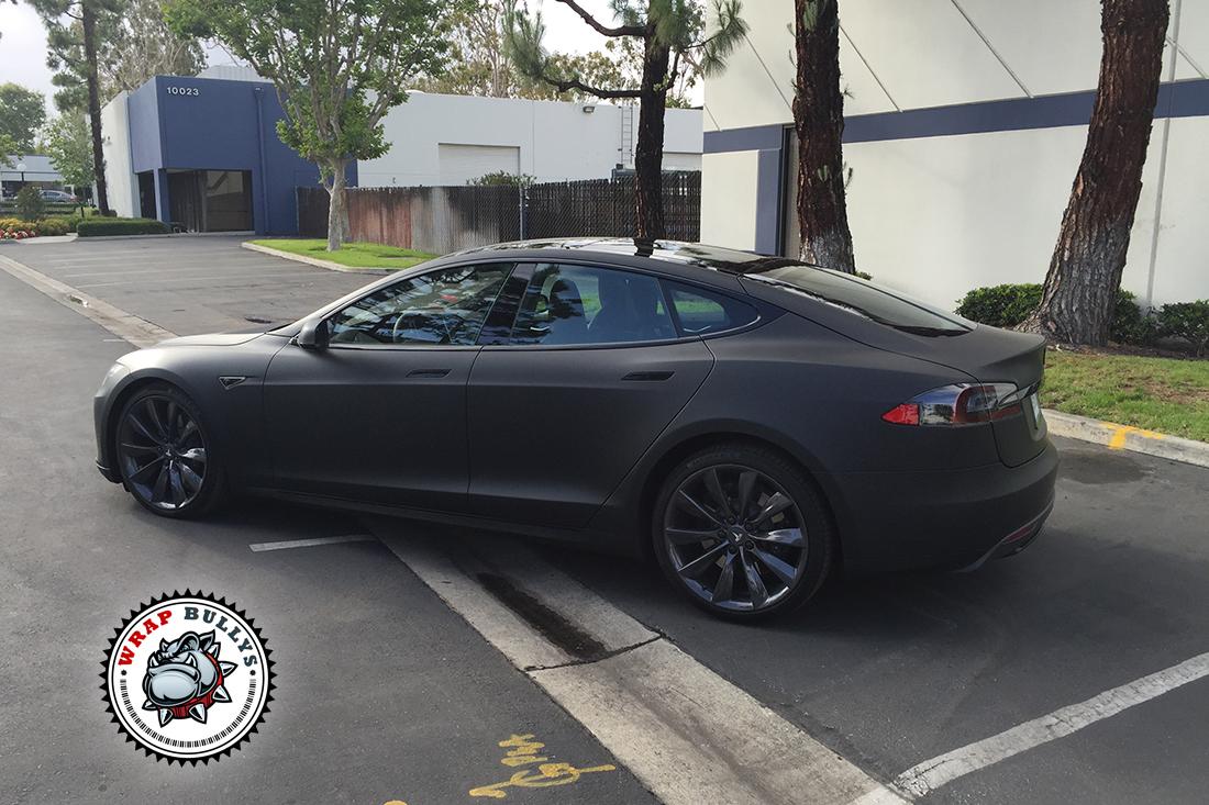 Tesla Wrapped In 3m Deep Matte Black Car Wrap Wrap Bullys