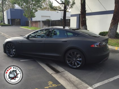Tesla Wrapped in 3M Deep Matte Black Car Wrap