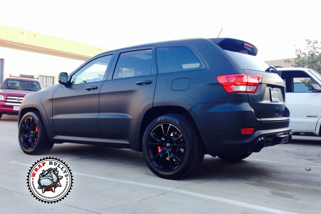 jeep srt8 wrapped in 3m deep matte black vehicle wrap. Black Bedroom Furniture Sets. Home Design Ideas