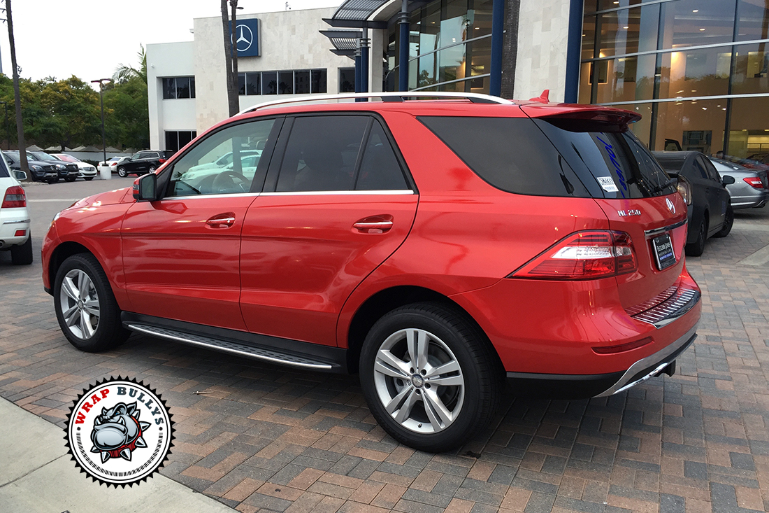 Mercedes benz ml wrapped in 3m gloss dragon red car wrap for Mercedes benz long beach service