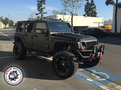 Jeep Rubicon Wrapped in 3M Matte Black