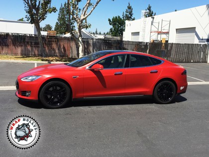 Tesla Model S Wrapped in Satin Red