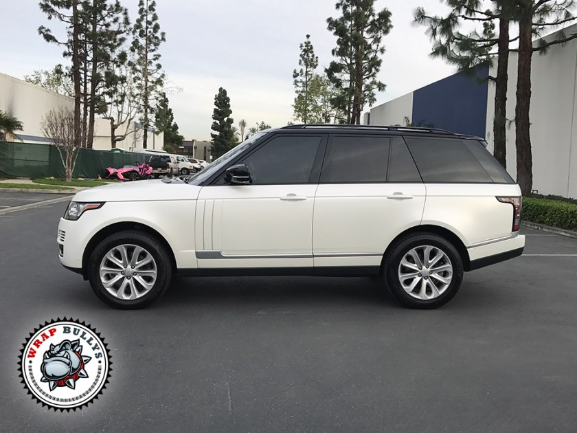 Range Rover Wrapped in Avery Satin Pearl White