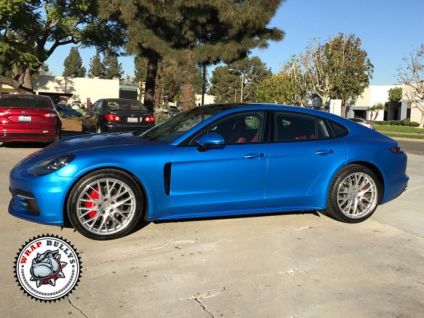 Porsche Panamera Wrapped in 3M Satin Perfect Blue
