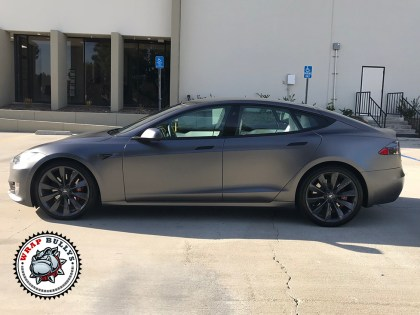 Tesla S Wrapped in 3M Satin Dark Gray