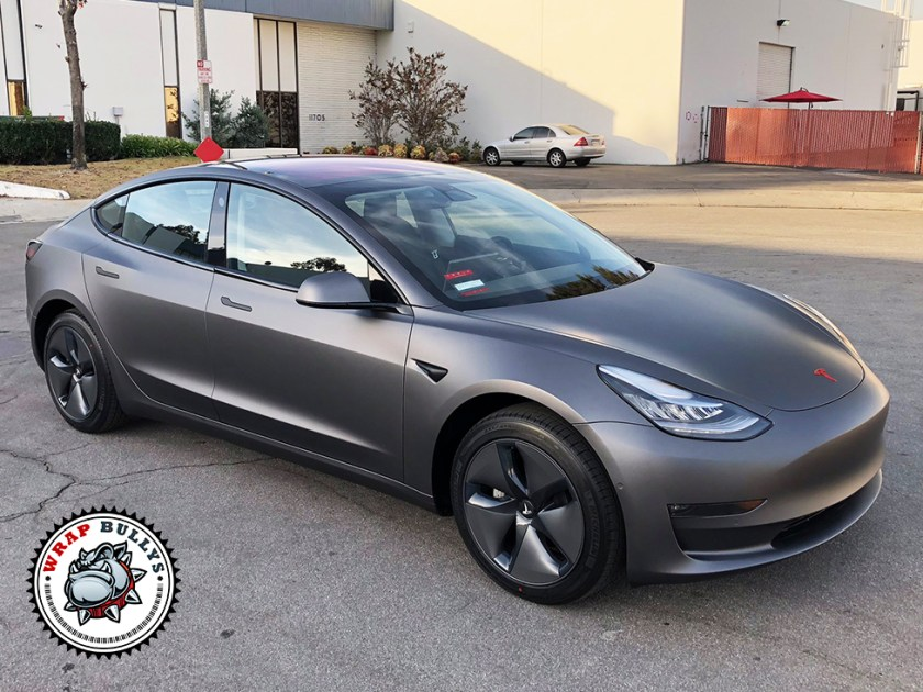 Tesla 3 Wrapped in 3M Matte Dark Grey