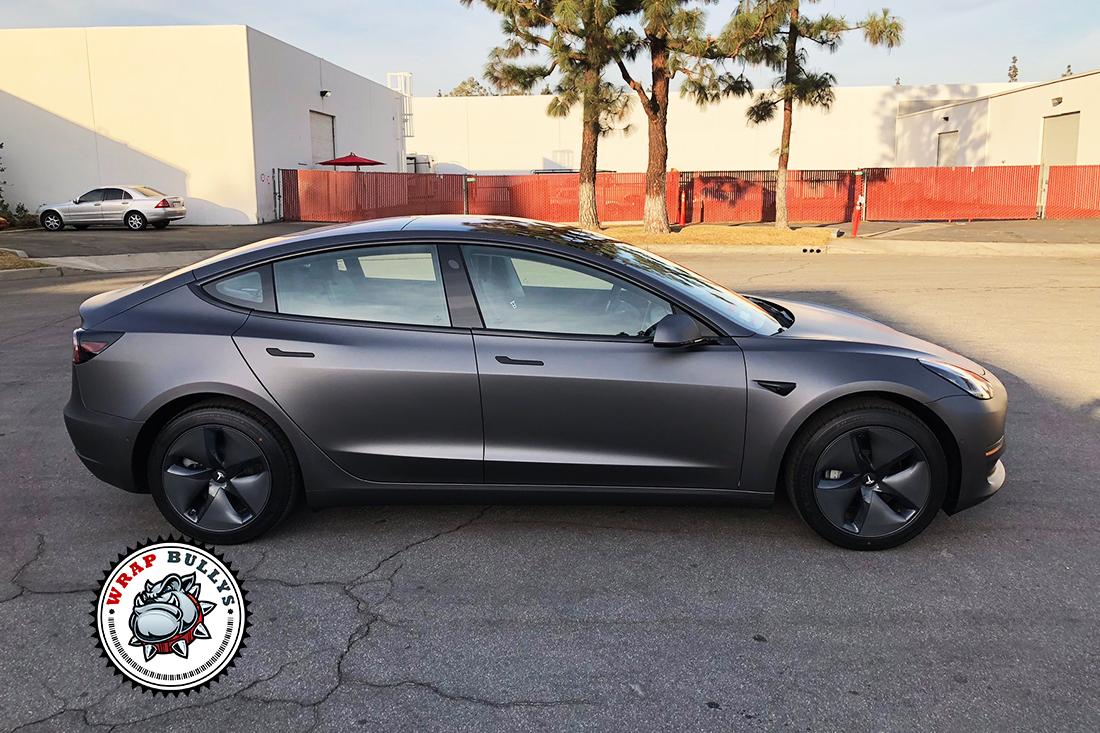 3m Matte Dark Grey Tesla Model 3 Car Wrap Wrap Bullys