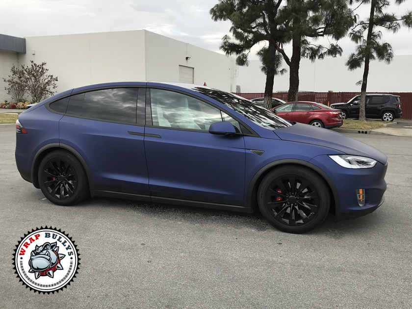 Tesla X Wrapped in Avery Matte Metallic Night Blue
