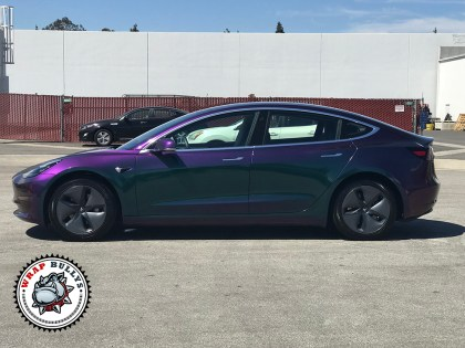 Tesla 3 Wrapped in Avery Gloss Lightning Ridge