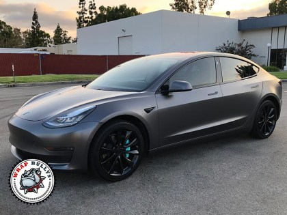 Model 3 Wrapped in 3M Satin Dark Gray