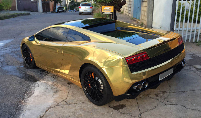Lamborghini Gallardo Wrapped In Avery Gold Chrome By AC Designer Ltda.