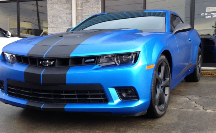 Satin Perfect Blue Camaro Wrap