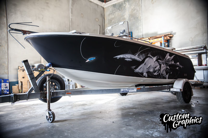 Matte Black Boat Wrap