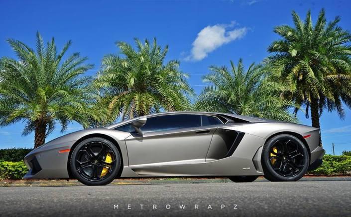 Matte Grey Aluminum Lamborghini Aventador Wrap