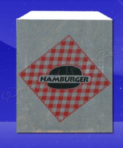 Foil Sandwich Bags – 6 x 3/4 x 6-1/2 – Printed Hamburger 1