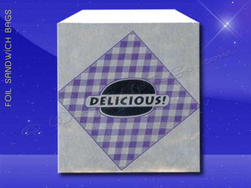 Foil Jumbo Sandwich Bags – 6-1/2 x 1-1/2 x 7-3/4 – Printed Delicious 1
