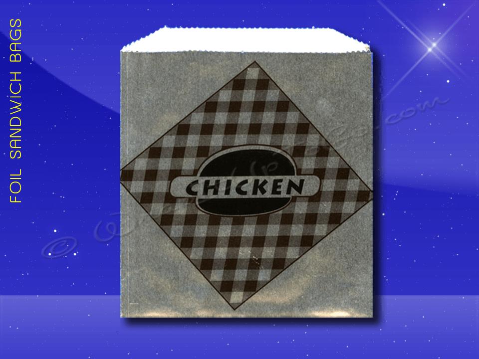 Foil Sandwich Bags – 6 x 3/4 x 6-1/2 – Printed Chicken 1