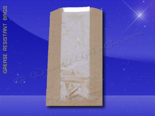 Grease Resistant Bag with Window Panel 5-1/2 x 2 x 10 – Natural Kraft (brown) 1