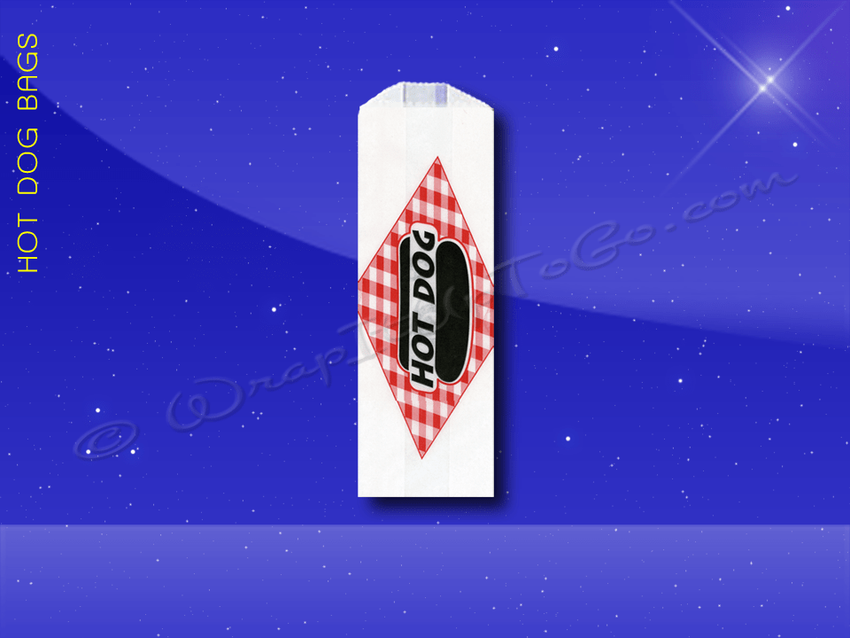 Hot Dog Bags – Conventional – 3 x 2 x 8-3/4 – Printed Hot Dog 1