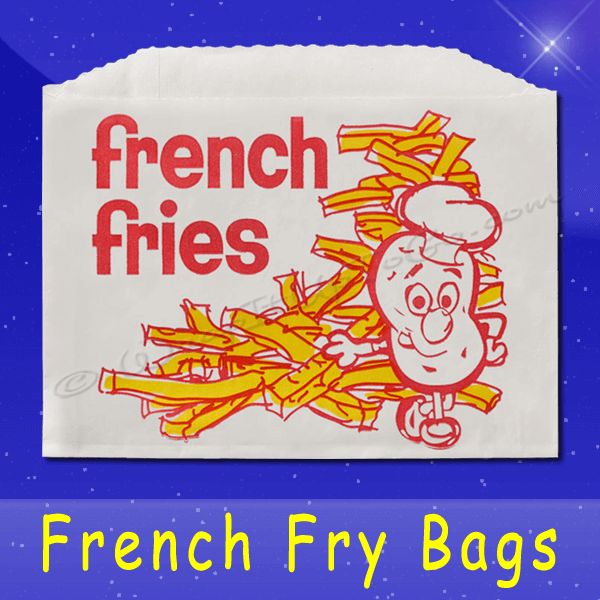 Fischer Paper Products 605-FF5 French Fry Bags 5-1/2 x 1 x 4 Printed French Fries