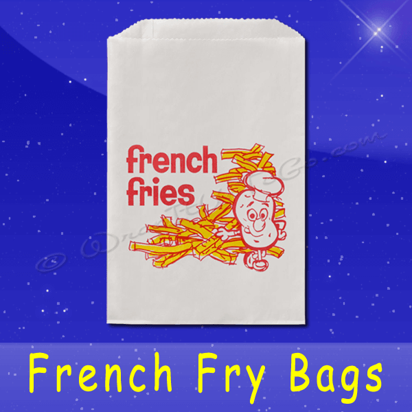 Fischer Paper Products 607 French Fry Bags 5-1/2 x 1 x 8 Printed French Fries