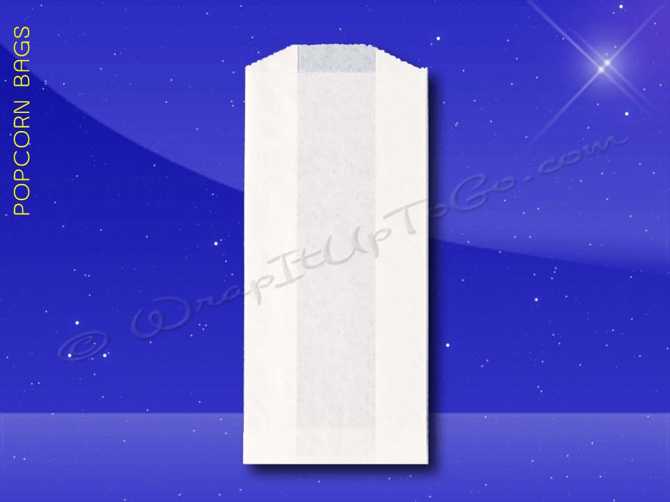 Fischer Paper Products 330-PL Popcorn Bags 3-1/2 x 2 x 8 Plain