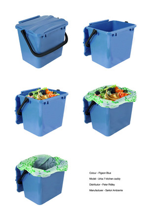 kitchen caddy baseboards pigeon blue food waste shown with and without compostable liner wrap resource library