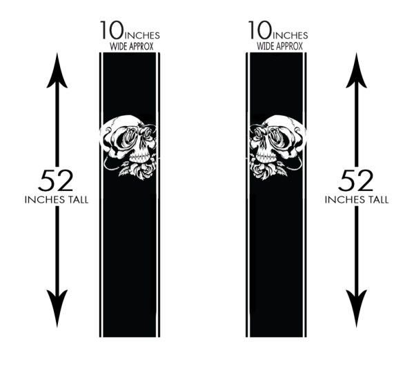 Truck Band Skull Roses Measurements