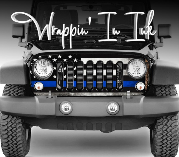 Jeep Wrangler Grill Wrap Police Thin Blue Line Subdued American Flag