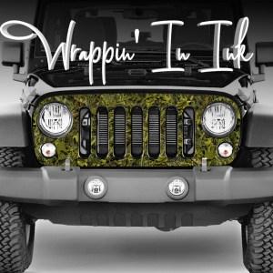 Grill Wrap for Jeep Wrangler Marshland Camo