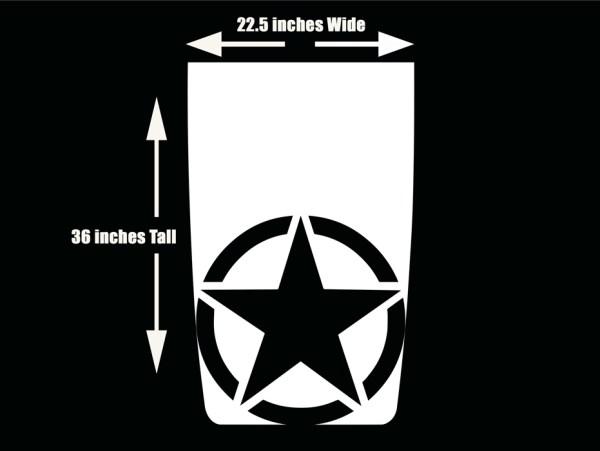 Jeep Wrangler Hood Blackout Decal Die-cut Military Star