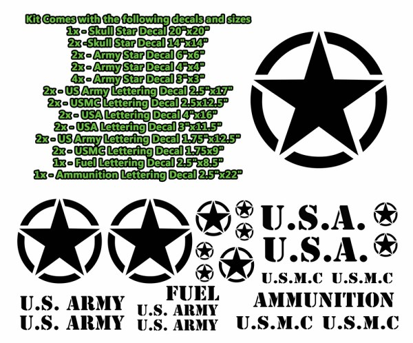 Military Decals Jeep Wrangler