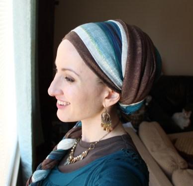 Wrapunzel Andrea Grinberg Pashmina Stripe Scarves Outift Teal Brown