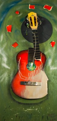 """""""Mississippi Red"""" 2011, 21 x 48 x 4 guitar, mixed media on plywood. Mississippi Red is a three dimensional assemblage consisting of a smashed guitar and the bed of a record player with acrylic and metallic paint."""