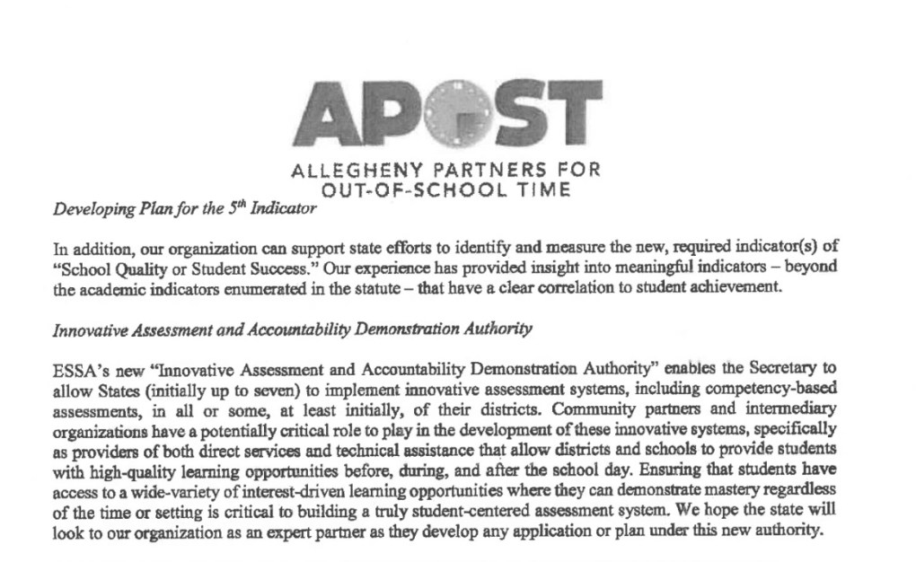APOST Out of School Time Leaning