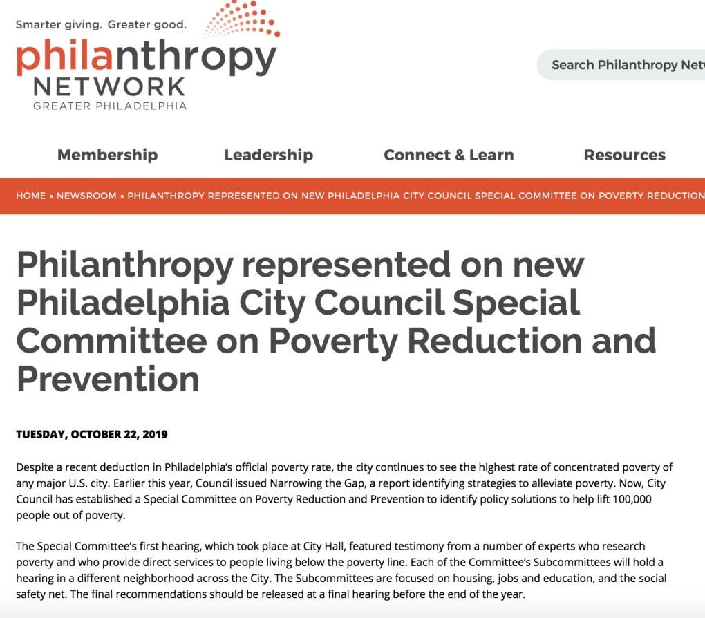 Philadelphia Poverty Committee Philanthropy