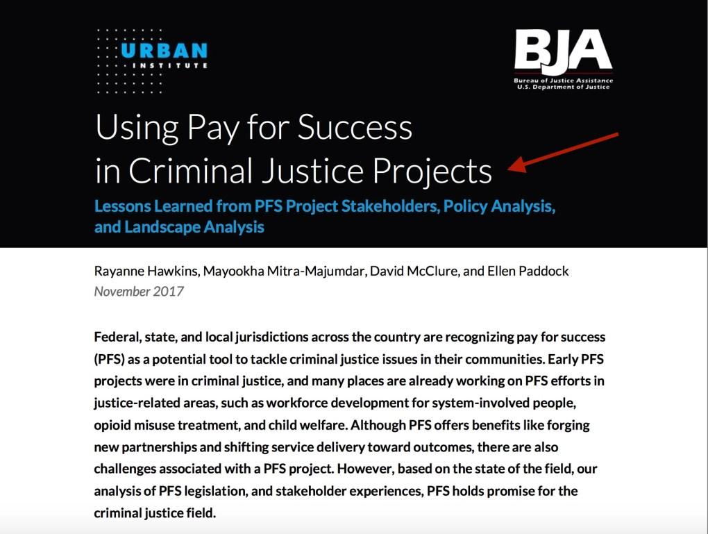 Urban Institute Pay For Success