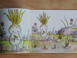 """Sprouting"" postcard & mug color comparison; different, but good!"
