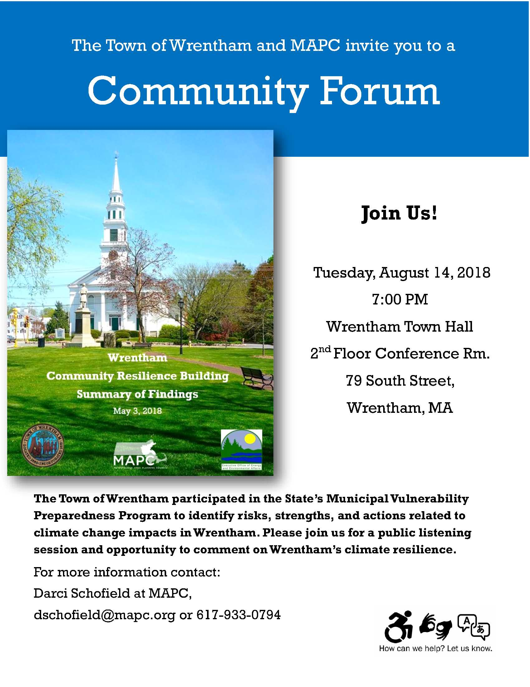 Aug 14 Community Forum Wrentham