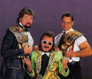 Ted DiBiase with IRS and Jimmy Hart.