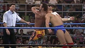 Rick Rude tried to finish off Dustin Rhodes in the match and the feud, but failed.