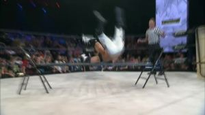Magnus hitting the superplex on Storm across the guard railing.