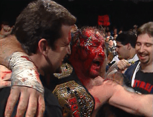 Terry Funk after winning the ECW World Championship.