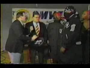 Jim Cornette approaching the Gangstas to manage them, didn't work so well.