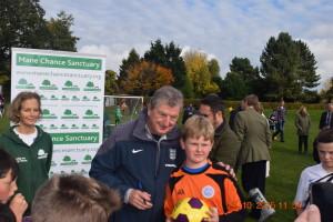 Roy Hodgson with U12 Warriors 'keeper, King Leon