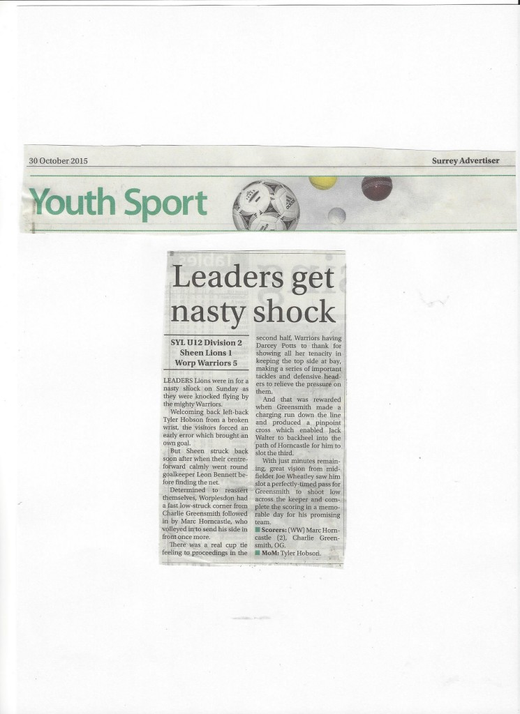 U12 Warriors - Surrey Advertiser 30.10.15