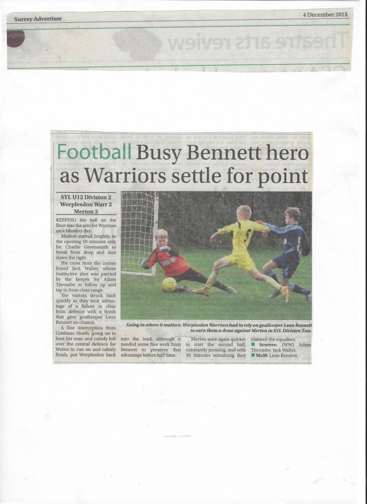 WRFC U12 Warriors Surrey Advertiser 04.12.15